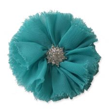 8cm Frayed Diamante TEAL GREEN Fabric Flower Applique